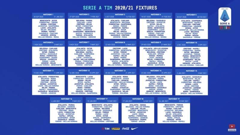 Calendario Serie A 2020/2021: tutte le partite della nuova stagione
